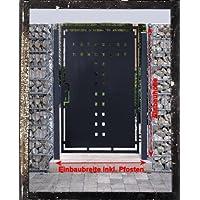 Einbau-H/öhe: 2m Rahmen: 60 x 30mm // Mattentor Industrietor Gartentor Inklusive 2 x 100er-Pfosten // Einbau-Breite: 8m Einfahrtstor 2-Fl/ügelig Verzinkt