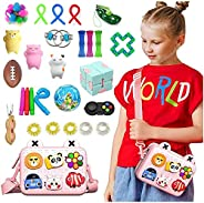 AM ANNA Sensory Fidget Toys Set,33 Pack Simple Dimple Fidgets Toy for Kids Adults Stress Relief and Adult Anxi