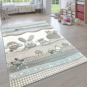 Paco Home Kinderteppich, Moderner Kinderzimmer Pastell Teppich, Niedliche 3D Tiermotive, Grösse:80×150 cm, Farbe:Beige