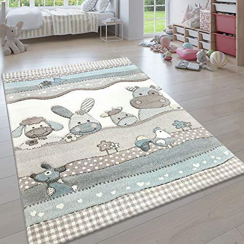 Paco Home Kinderteppich, Moderner Kinderzimmer Pastell Teppich, Niedliche 3D Tiermotive, Grösse:140x200 cm, Farbe:Beige
