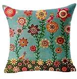 GONO Blumenkissenbezüge Leinen Baumwolle gedruckt Von Vintage Sofa-Kissen Kopfkissenbezug-Stil 35