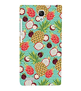 PINE APPLE AND STRAWBERRIES COLOURFUL PATTERN 3D Hard Polycarbonate Designer Back Case Cover for Xiaomi Redmi Note :: Xiaomi Redmi Note 4G