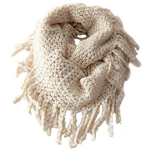 Unisex Baby Kinder Kleinkind Knit Quasten Neck Schal Circle Loop Runde Schals Schal für Keep Warm In Cold Weather, Beige (Kinder-circle-schal)