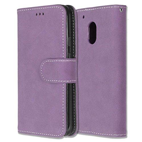 Motorola Moto G4 Play Hülle, Chreey Matt Leder Tasche Retro Handyhülle Magnet Flip Case mit Kartenfach Geldbörse Schutzhülle Etui [Lila]