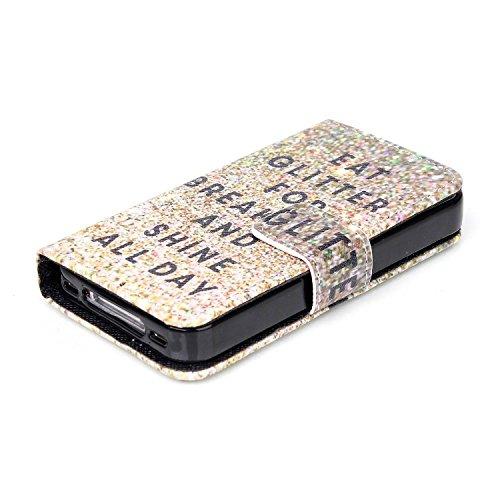 SpiritSun Coque iPhone 4S Etui iPhone 4 Housse Protection Coque PU Cuir Portefeuille Case Cas Motif Original Housse à Rabat Couverture Coquille Ultra Mince Poids Léger Anti Rayure avec Stand et Fente  Scintillement