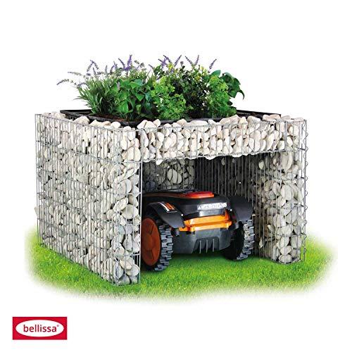 bellissa Gabionen Mähroboter-Garage – 97296 – Bepflanzbare Rasenmäher-Garage mit Pflanzschale – 75 x 75 x 53 cm