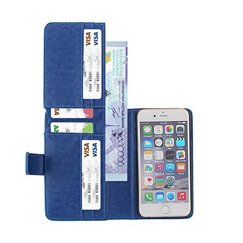 xhorizon FX 2 in 1 Prämie Leder Halfter [Karte/Bargeld Solts] [Magnetisch abnehmbar Schutzhülle] Folio Flip Tasche Herausnehmbare Schutzhülle für 4.7 Zoll iPhone 6 6s Blau