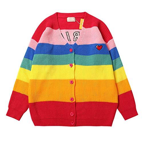 Suéter de moda para mujer, suéter de lana con rayas de colores arcoíris, abrigo casual 3XL
