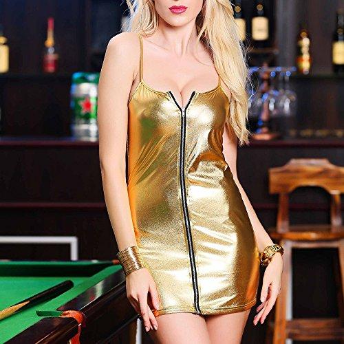 Gogogo Sexy Lingerie Patent Leather Zipper Camisole Dress Party Clubwear Underwear