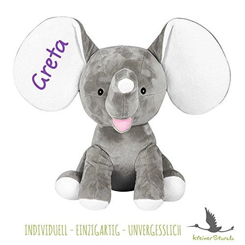 Stofftier Elefant in grau mit NAMEN - Kuscheltier Baby Kinder Geschenk personalisiert mit Wunschnamen in lila (Stofftier Lila Elefant)