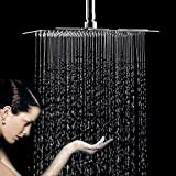 FuSenYing 12 Inch Large Square Rain Showerhead, Stainless Steel Shower Head with Polish