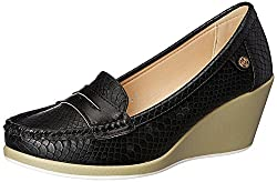 Carlton London Womens Neena Black Loafers and Moccasins - 8 UK/India (41 EU)