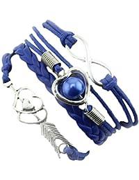 Malloom® Cupido pulsera Infinity + flechas con doble corazón + perla amistad antigüedad cuero Brazalete Encantado