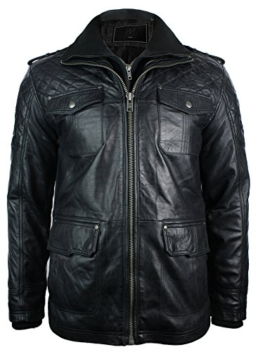 Mens Retro All Leather Fitted Safari Jacket Quilted