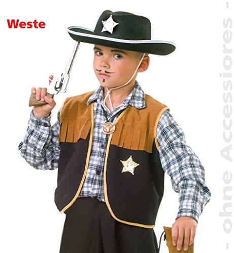 Cowboy Wild Kleinkind Kostüm West - Kinderweste Sheriff, Kinder-Kostüm, Cowboy, Wilder Westen, Sheriff, Cowboy und Idianer, Wildwest, Weste (104)
