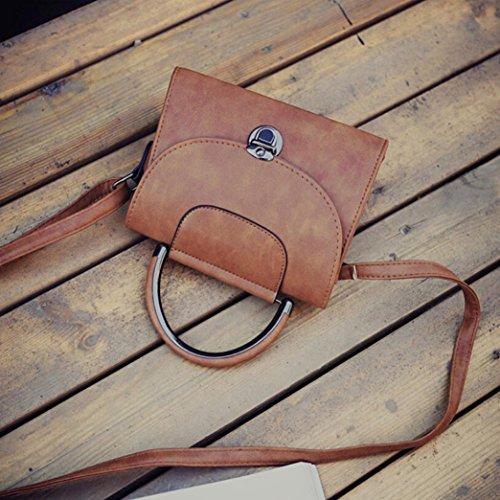 Longra Sacchetto di messaggero della borsa della borsa di modo della borsa della spalla del cuoio artificiale delle donne Marrone