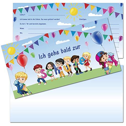 KREATIVES HERZ - Kinder Einladungskarten zur Einschulung Buchstaben Schultüte 10er Set Einladungen Schulanfang Karten 1.Schultag Mädchen und Jungen (10 Karten + 10 Umschläge)