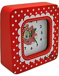 Disney Minnie Wecker Analog aus Holz in Geschenkpackung 15x4,5x13 cm 91012