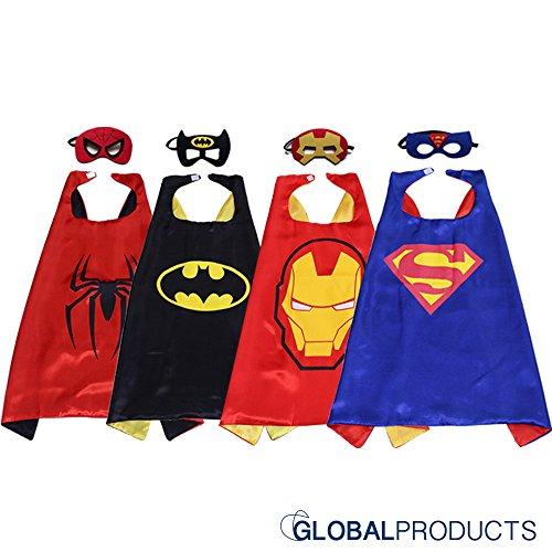 Superhelden Kostüme für Kinder - 4 Capes und Masken – Halloween Kostüm - Im Dunkeln Leuchtendes Spiderman Logo - Spielsachen für Jungen und Mädchen - Karneval Fasching Costume (Man Iron Shirt Kostüme)