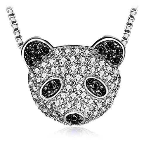Jewelrypalace Panda Bear 0.8ct Pave echte schwarze Spinell Zirkonia Anhänger Halskette 925 Sterling Silber 18 Zoll Box Kette Velvet Holiday-outfit