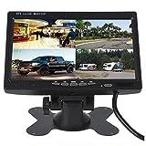 Camecho Car Backup Camera Kit 7 pouces Quad Monitor 4 canaux d'entrée vidéo Full HD Image couleur pour système de sauvegarde de véhicule et surveillance de sécurité domestique