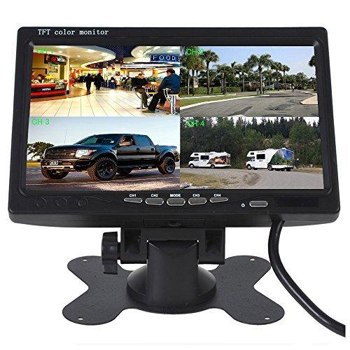 Camecho 7 Zoll 4-Splitscreen Monitor Quad Multiplexer Bildschirm TFT LCD 800x480 HD Screen für Auto LKW PKW Rückfahrsystem Rückfahrkamera 4-Kanal RCA input On-Dash Ständer (16 Cctv-kamera Sicherheit System)