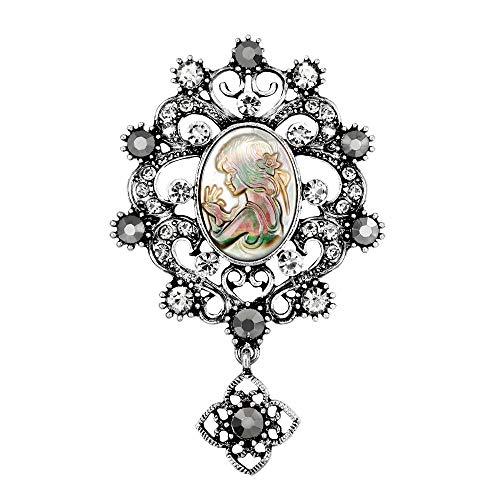 Yazilind Luxus Lange Vintage Brosche Pins Legierung Schmuck Marke Kleidung Zubehör Kristall Strass Broschen für Frauen Hochzeit Braut (Silber)