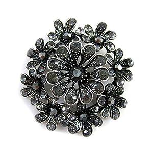 Schöne Braut Strass Kristall Brosche mit Anstecknadel Blume Schwarz