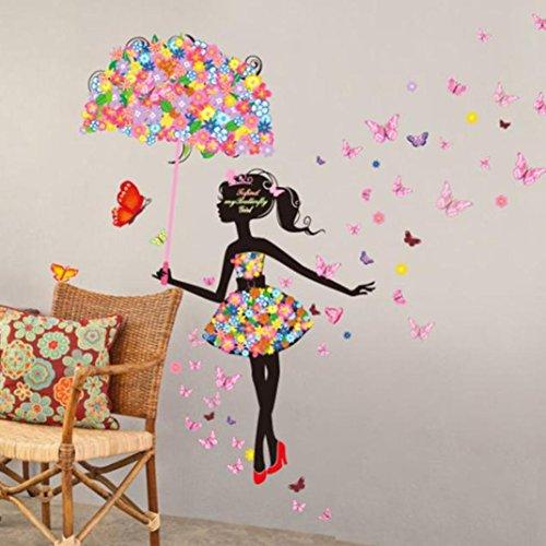 Saingace Beau Papillon Fleur Fée Belle Stickers Muraux Filles Chambre D'enfant Salon Maison Déco