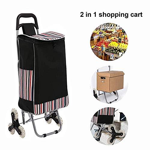 Junio Einkaufswagen Einkaufstrolley Treppensteigerfunktion mit Tri-Wheel-Design und 32 Liter Tasche Klappbar bis 30 kg Belastbar[EU Lagerhaus]