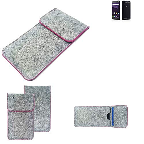 K-S-Trade® Filz Schutz Hülle Für -ZTE Blade V8 64 GB- Schutzhülle Filztasche Pouch Tasche Case Sleeve Handyhülle Filzhülle Hellgrau Pinker Rand