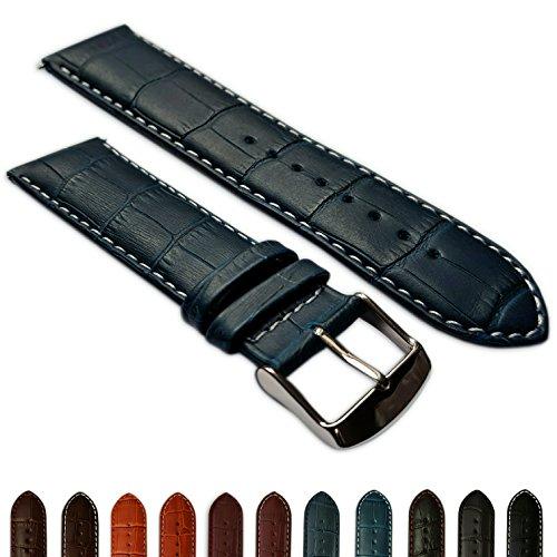28mm Uhrenarmband echt Leder Mock Croc Band Herren Edelstahl Schnalle gepolstert blau/weiß -