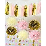 Furuix 20 unidades de adornos, guirnaldas, pompones, colores rosa, crema, oro, cumpleaños, boda, bebé, despedida de soltera