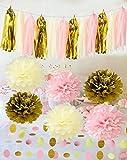 Furuix rosa Creme Gold Tissue Papier Pom Pom Blume mit Papier Quaste Girlande Kreis Girlande für Geschlecht decken Partei-Dekoration Rosa Gold Geburtstag Hochzeit Party Dekoration Baby Dusche Braut Dusche Dekoration