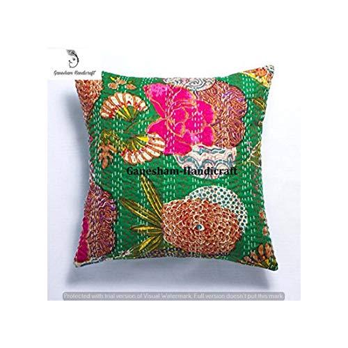 - Indian Decorative Handmade Cotton Floor Pillow &Cushion Hippie Sofa Boho Chic Bohemian Toss Pillow Sequin Pillow Shams Sofa Pillows Couch Pillow Boho Pillow Kantha Cushion Cover -
