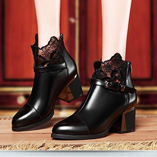 Longra Autunno e Inverno Donna Solido Colore Decorazione Merletto In Metallo Fibbia Stivaletto Heels Scarpe alti Nero