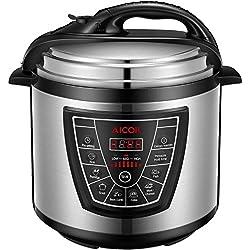 Aicok 7 in 1 Programmierbarer Elektrische Schnellkochtopf, Multikocher, Reiskocher und Dampfgarer Kochtopf, 24 Stunden Timer Multifunktion und 2 Stunden warmhalten Reiskocher, 6L, 1000W, Schwarz
