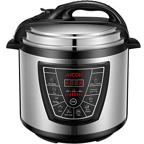 Aicok 7-in-1 Programmierbarer Elektrische Schnellkochtopf , Multikocher,Reiskocher und Dampfgarer Kochtopf , Reiskocher