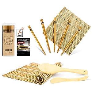 MUDEELA Sushi Set, Bambus Sushi Matte, karbonisierte Sushi Rollmatte, Anfänger Sushi Kit, 2 Rollmatten - 5 Paar Essstäbchen - 1 Reisstreuer - 1 Paddel - 1 Anfängerleitfaden (.PDF-Datei)