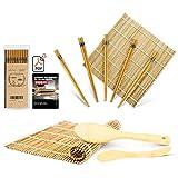 MUDEELA Bambus Sushi Matte, karbonisierte Sushi Rollmatte für Schimmel-resistent, Anfänger Sushi Kit
