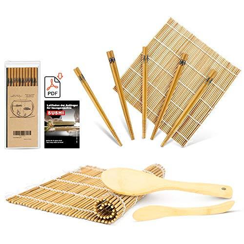 MUDEELA Sushi Set, Bambus Sushi Matte, Sushi Maker für Anfänger, karbonisierte Sushi Rollmatte, 2 Rollmatten – 5 Paar Essstäbchen – 1 Reisstreuer – 1 Paddel – 1 Anfängerleitfaden (.PDF-Datei)
