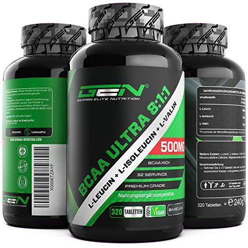 BCAA Ultra 8:1:1 320 Tabletten – 5000mg pro Tagesportion – L-Leucin, L-Isoleucin & L-Valin – Vegan – Hochdosiert – Aminosäuren für Sport, Muskelaufbau & Fitness
