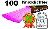 100 Knicklichter PINK, Testnote: 1,4SEHR GUT, Komplett-Set inkl. 100x TopFlex-, 2x Dreifach- und 2x Ball-Verbindern