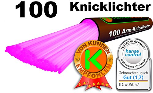 100 Knicklichter PINK, Testnote: 1,4 'SEHR GUT', Komplett-Set inkl. 100x TopFlex-, 2x Dreifach- und 2x Ball-Verbindern