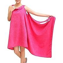 Toallas de Baño, albornoz toalla Wearable, toalla piscina playa mujer Sexy ducha, absorbente Seco Rápidamente Super Suave, albornoz toallas microfibra todo en uno.(rosa)