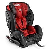 KIDUKU® Kindersitz Autokindersitz mit ISOFIX | Kinderautositz aus ECO-Leder | Autositz mitwachsend | universal | zugelassen nach ECE R44/04 | 9 kg - 36 kg 1-12 Jahre | Gruppe 1/2/3 (Rot)