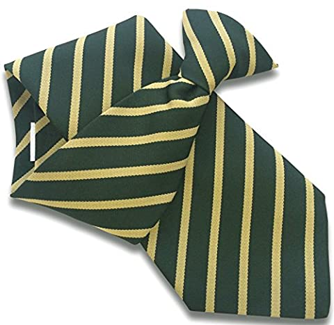 Men's Clip On Tie - Bottle Green with Gold Stripes