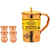 Taluka Pure Handmade Hammered Copper Jug For Water Drinking Brass Top Jug Pitcher Capacity 1500 Ml With 6 Pure Copper Round Bottom Hammered 300 ML Each Water Glass (Mathat Dholak Glass).