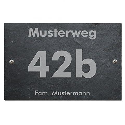 Haustürschild Hausnummer Hausschild aus Schiefer incl. individuellem wetterfestem Druck und Befestigungsmaterial in versch. Größen, Größe:160 x 220 mm