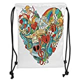 Trsdshorts Drawstring Backpacks Bags,I Love You,Love with Eros Arrow Music Present Boxes Swirls Balloons Ring Marry Me C